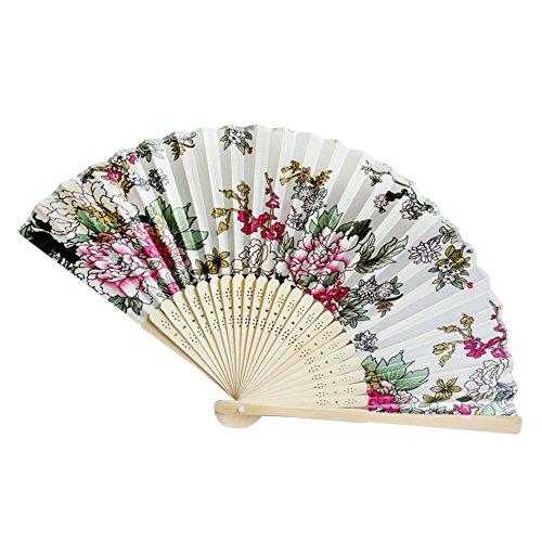 FiedFikt abanicos Plegables de bambú, diseño de Flores, Hecho a Mano, Regalos para Baile, Boda, Fiesta, Estilo Retro Chino/japonés, O