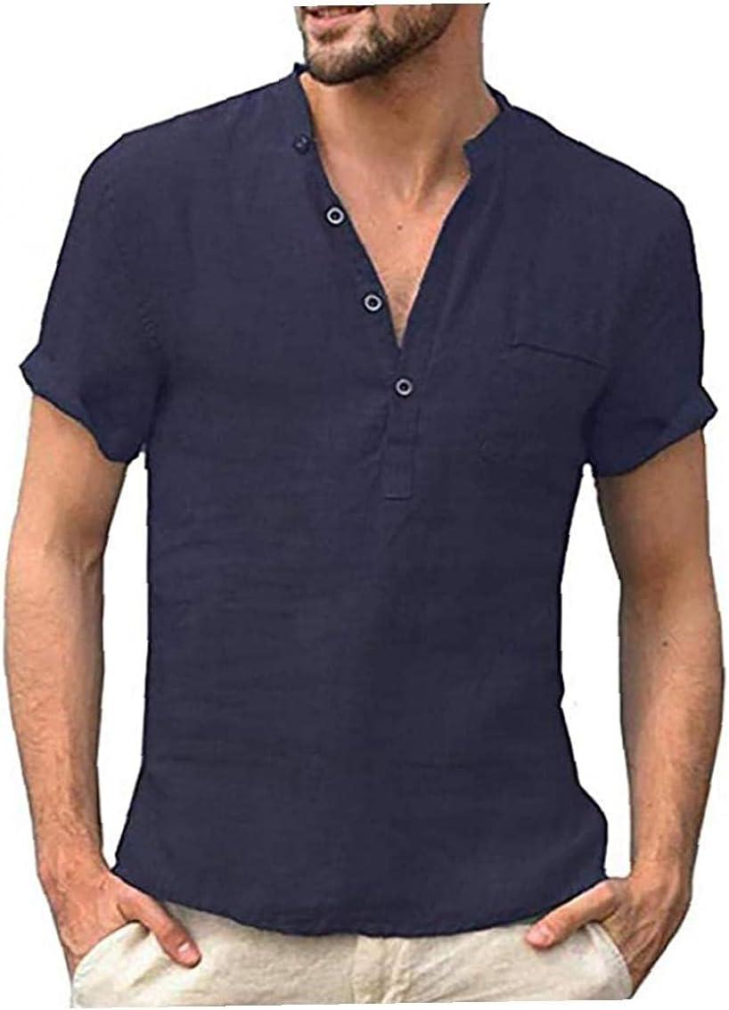 Runfon Camisa de algodón de Lino Henley de los Hombres - Casual Corta/Larga botón de la Manga del Hippie hasta la Playa T Shirts