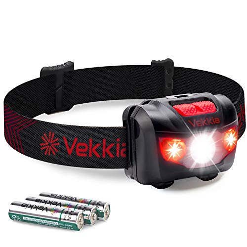 VEKKIA Ultra Bright CREE LED Headlamp - 5 Lighting Modes, White & Red LEDs, Adjustable Strap, IPX6 Water Resistant. Great For Running, Camping, Hiking & More. Batteries Included