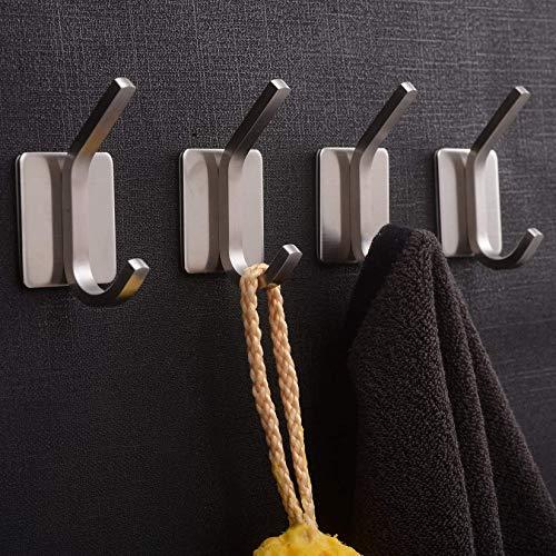 YIGII Towel Hook/Adhesive Hooks - Bathroom Hooks Wall Hooks Bath Show Robe Hook Self Adhesive Coat Hook Stick on Wall Stainless Steel Brushed 4-Pack