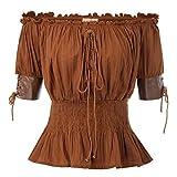Belle Poque Mujer Top Medieval de Cintura Plisada con Cordones Ajustables para Cóctel L Marrón