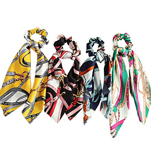 Beauty Wig World Hair Scarf Silk Scrunchies Ponytail - (4 Pack) Chain Detail Unique Hair Ties Designs to match Different Outfits – Satin Silk Hair Bands for Women Teen Tween Hair Scarves Tie 2