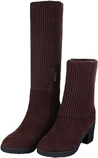 [ジャング] ニットブーツ スノーブーツ ショートブーツ レディース 防寒 ハイヒール ブーツ 可愛い 女性用 雪靴 切り替え 歩きやすい オフィス OL