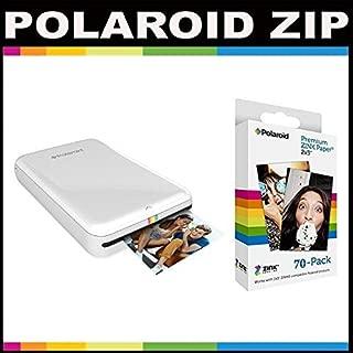 Polaroid ZIP Mobile Printer ZINK Zero Ink Printing Technology - With Polaroid 2x3 inch Premium ZINK Photo Paper (70 Sheets)- White