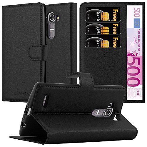 Cadorabo Custodia Libro per LG G4 / G4 Plus in Nero Carbone - con Vani di Carte, Funzione Stand e Chiusura Magnetica - Portafoglio Cover Case Wallet Book Etui Protezione