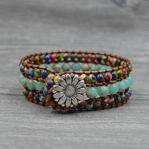 AOIXBCUROC - Pulsera de perlas de piedra natural hecha a mano, 3 envolturas, pulsera de cuero con piedras preciosas y energía para un regalo calmante para cumpleaños