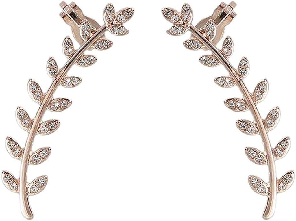 shamjina Rhinestone Leaf Twig Ear Climber Earrings Crawler Stud Wedding Club Prom Jewelry