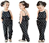 FYMNSI Mono corto para bebé, para niña, verano, sin mangas, con estampado de corazones, elegante, con cinturón, para 1-5 años Color negro. 12-24 Meses