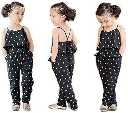 FYMNSI Mono corto para bebé, para niña, verano, sin mangas, con estampado de corazones, elegante, con cinturón, para 1-5 años Color negro. 4-5 Años