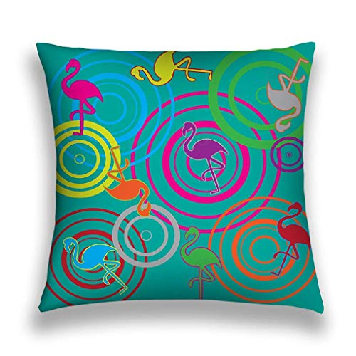 Throw Pillows Stylish Chic Pillowcases Zippered Flamingo Colourful Nice Bright Vintage