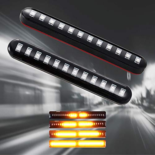 Evermotor motorcycle indicators 2 x 12 V 12 LED lights flowing sequential indicator turn signal, license plate lights for motorcycle, scooter, off-road vehicle, amber light strip