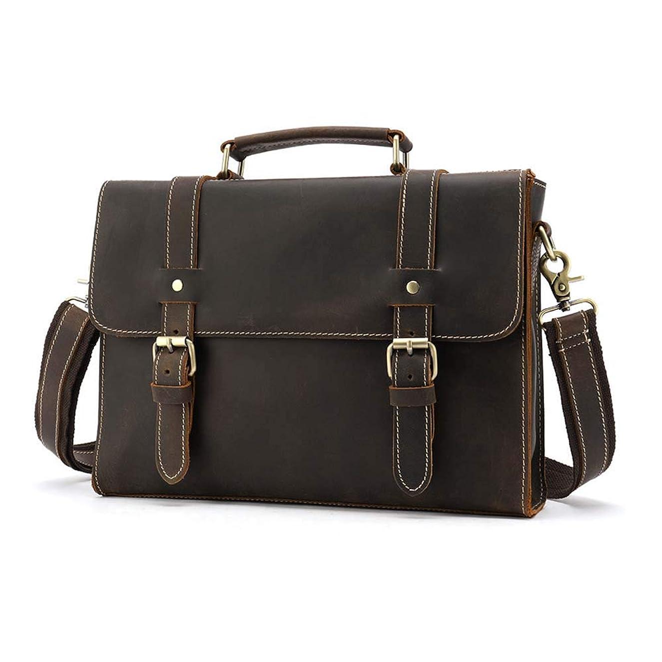 Lyntop-bb Handmade Leather Messenger Bag Leather Messenger Bag for Men Business Briefcase Shoulder Bag with Top Lift Handle