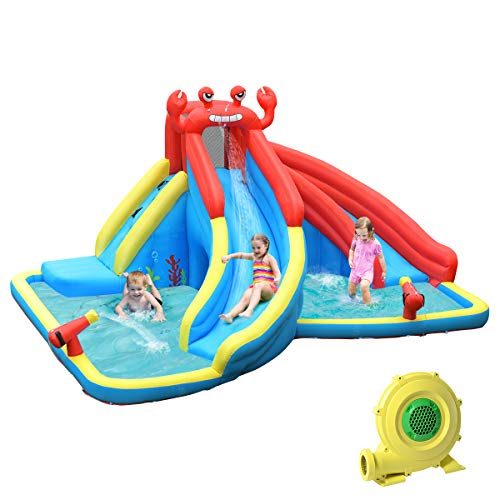 BOUNTECH Inflatable Water Slide, Crab Themed Bouncer Park w/Double Slides, Climb Wall, Splash Pool, Tunnel, Water Cannon, Including Oxford Carry Bag, Repair Kit, Stakes, Hose (with 950W Air Blower)