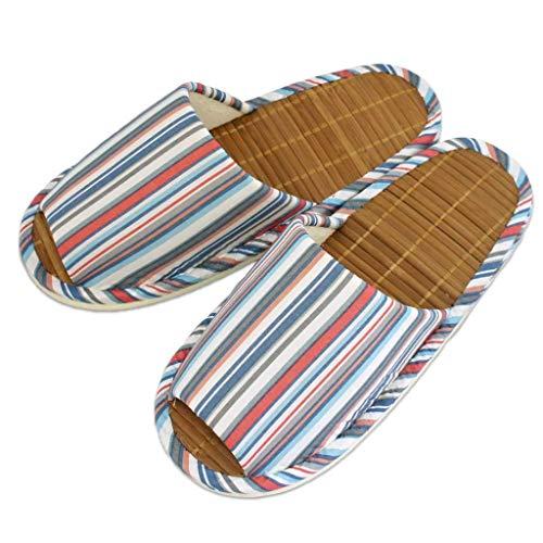 夏用 スリッパ 竹 ローンマルチライン中竹外縫い Mサイズ 約25cmまで 日本製 おしゃれ ストライプ ピンク