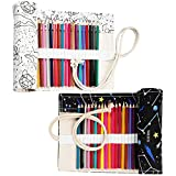 IWILCS 2 pezzi rotolo di matita in tela, astuccio in tela astuccio in tela astuccio arrotolabile, per scuola d'artista (36 fori + 72 fori)