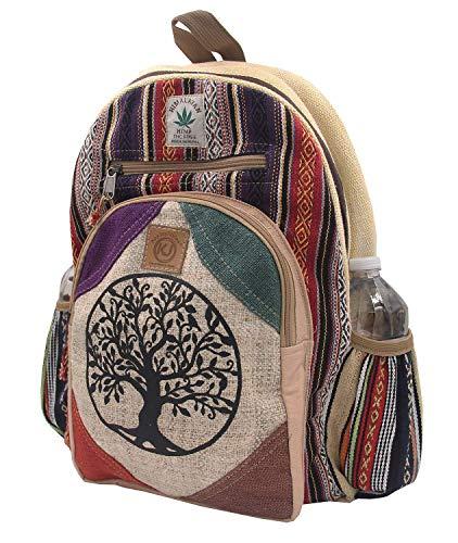 KayJayStyles Rucksack aus Hanf, handgefertigt, groß, mit mehreren Taschen - Beige - Large