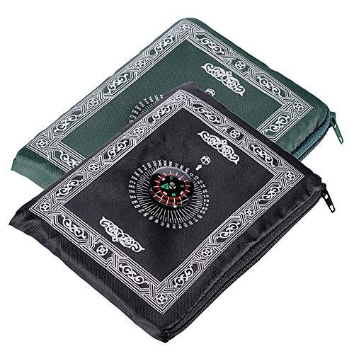 Islamische Hitopin, Reise-Gebetsmatte mit Kompass, Tragetasche und befestigtem Kompass mit Qibla-Finder, Gebetsteppich, tragbar, Nylon, wasserdicht, 2 Farben, 2 Packungen