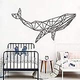 Nouveauté vinyle stickers muraux dessin animé géométrique baleine stickers muraux enfants salle de bain baleine océan vinyle stickers muraux | salon chambre canapé fond TV mur fond cadeaux créatifs