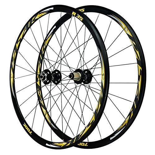 CHICTI Bike Wheelset,700C Disc Brake Road Bike Wheels 24 Holes V Brake 7/8/9/10/11 Speed Flywheel Cycle Wheel Outdoor (Color : Yellow)