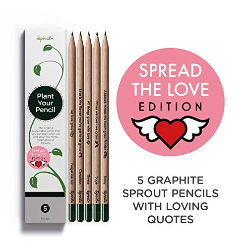 Sprout Pencils Spread the Love Edition Box | 5 Pack | Plantable Graphite Pencils to plant | in eco-friendly wood | Gift Set with heart - warming quotes together with flower and herb seeds
