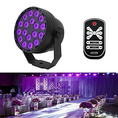 Aeo UV LED Schwarzlicht 54W 18 LEDs 7 Modi Schwarzes Strahler UV Lampe DMX512 Steuerung IR Fernbedienung Bühnenbeleuchtung für Parteien Bar...
