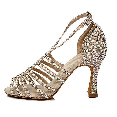 HROYL Rhinestones Ballroom Dance Shoes Women Latin Salsa Bachata Performance Dance Heels,YCL438-6-Gold,US 7