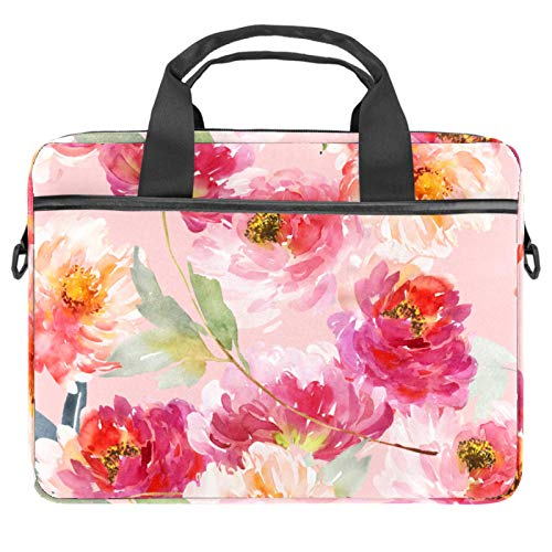 Pink flowers Laptop Bag Expandable Laptop Briefcase Fits Up to 13.4 14.5 Inch Laptop Shoulder Messenger Bag Computer Bag for Travel/Business/School/Men/Women