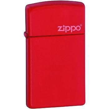Zippo Red Slim Matte Logo Mechero, Metal, Rojo, 3.5x1x5.5 cm: Amazon.es: Hogar