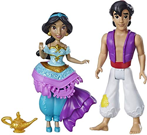 Disney Princess Jasmine & Aladdin, 2 Dolls, Royal Clips Fashion, One-Clip Skirt