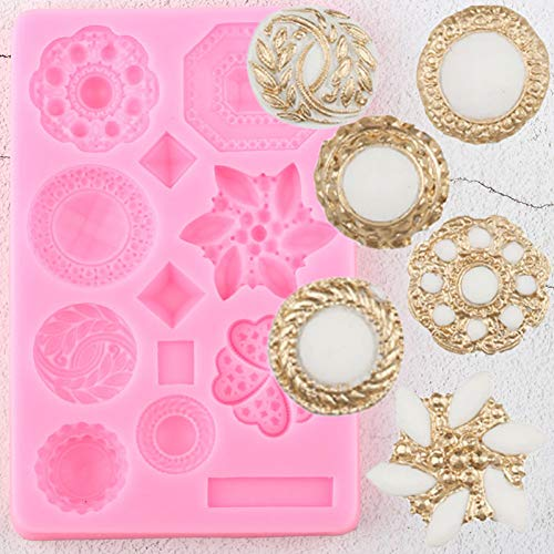 TAOZIAA 3D Buttons Border Silicone Molds Gem Jewelry Cupcake Topper Fondant Cake Decorating Tools Candy Clay Chocolate Gumpaste Moulds