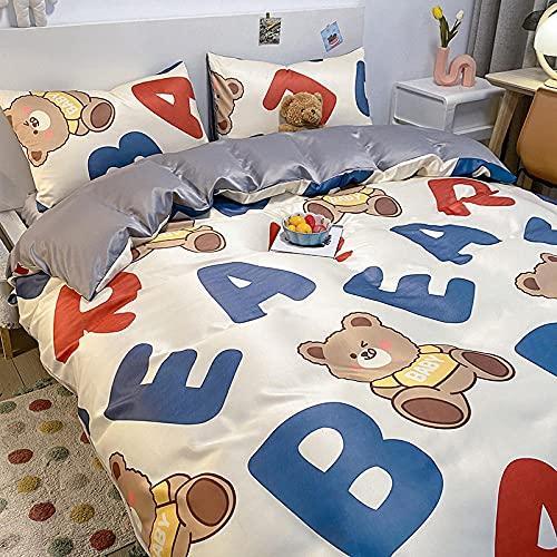 Bedding-LZ Juegos de sábanas de 90,Conjunto de colchas de Seda Lavado Seda de Cuatro Piezas Ropa de Cama Skiper-A_2.0m Cama -220x240cm