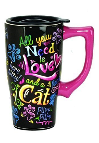Spoontiques Crazy Cat Lady Travel Mug, Multi Colored by Spoontiques
