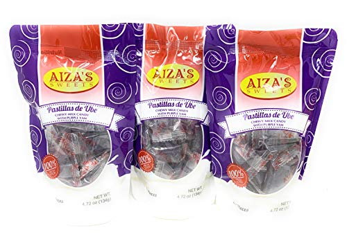 Aiza's Sweets - Chewy Milk Candy, Imported from The Philippines (Ube, 3 Pack)