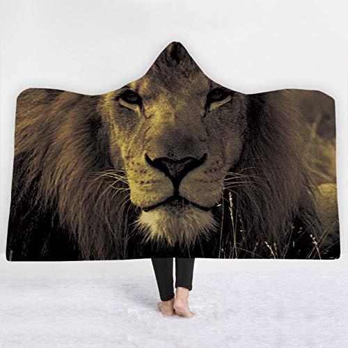 binglinshang 3d Animal Lions Hooded Blanket Soft Fleece Warm Hoodie Blanket Baby Kid Adult Sofa Blanket,150x130cm