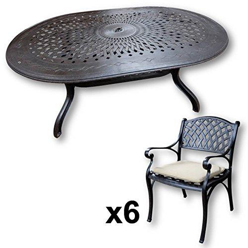 Lazy Susan - Jessica 180 x 115 cm Ovaler Gartentisch mit 6 Stühlen - Gartenmöbel Set aus Metall, Antik Bronze (Kate Stühle, Beige Kissen)