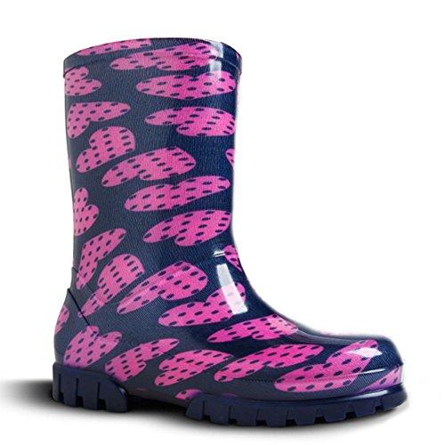 demar, stivali di gomma colorati per bambini, diversi motivi, stile Twister Print, (Cuori piselli), 28/29 EU