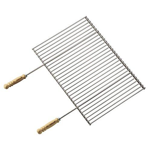 Barbecook Grillrost verchromt mit Holz-Griffe eckig Edelstahl Grill-Zubehör Grillfläche 90 breit 40-cm tief, silber