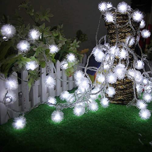 No Brand Led-lichtsnoer, kerstverlichting, lichtketting, decoratie voor feestjes, vakantie, buitenverlichting, accu, 6 m, 40 lampen, wit