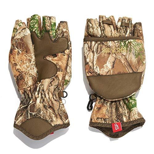 HOT SHOT Men's Camo Cyclone Stormproof Pop-Top Mittens - Realtree Edge Outdoor Hunting Camouflage
