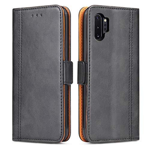 Bozon Handyhülle für Galaxy Note 10 Plus, Lederhülle mit Kartenfächer, Handytasche mit Standfunktion, Klapphülle Tasche für Samsung Galaxy Note 10 Plus (Schwarz)