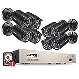 ZOSI TVI 720P 8CH DVR Enregistreur Vidéo avec 8pcs 1280TVL Caméra Surveillance Extérieure, 65ft (20m) Vision...