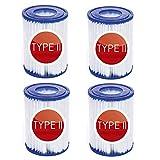 YYSY Cartucho de filtro de piscina para Bestway II, tamaño 2, adecuado para Bestway 58094, cartucho de filtro para filtro de piscina inflable, accesorios de filtro de limpieza de piscina(4 unidades)