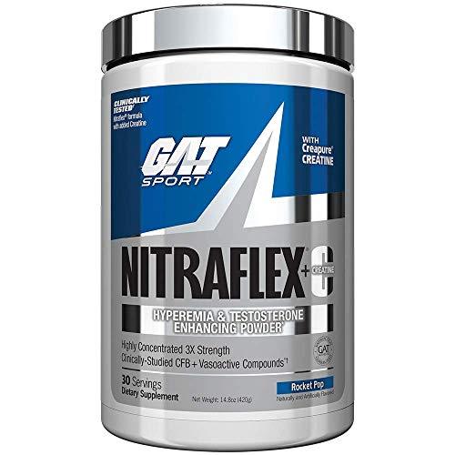 GAT Sport Nitraflex + C Creatine Preworkout Supplement 30 Servings, 14.8 oz (Rocket Pop)
