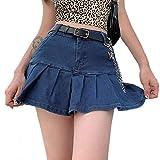 Loalirando Y2k - Minifalda vaquera informal para mujer, color liso, con falda corta y cintura alta, turquesa, M