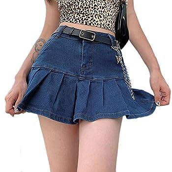 Women High Waist Denim Skirt Casual Ruffle Slim A-Line Pleated Mini Jean Short Skirts  Blue M