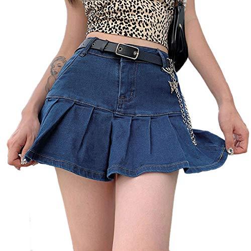 Damen Jeansrock Kurz Jeans Minirock A Linie Jeansrock mit hoher Taille Y2k Minirock mit Shorts (Dunkelblau, M)