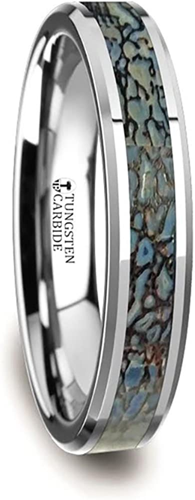 Thorsten Devonian | Tungsten Rings for Men | Tungsten | Comfort Fit | Wedding Ring Band with Blue Dinosaur Bone Inlay and Polished Beveled Edges - 4mm