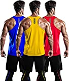 DRSKIN Men's 3 Pack Dry Fit Y-Back Muscle Tank Tops Mesh Sleeveless Gym Bodybuilding Training Athletic Workout Cool Shirts (BTF-ME-TA-(R,BL,Y), L)