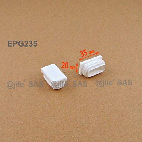 ajile - 4 piezas - Contera acanalada para tubo rectangular 35 x 20 mm - BIANCO - EPG235