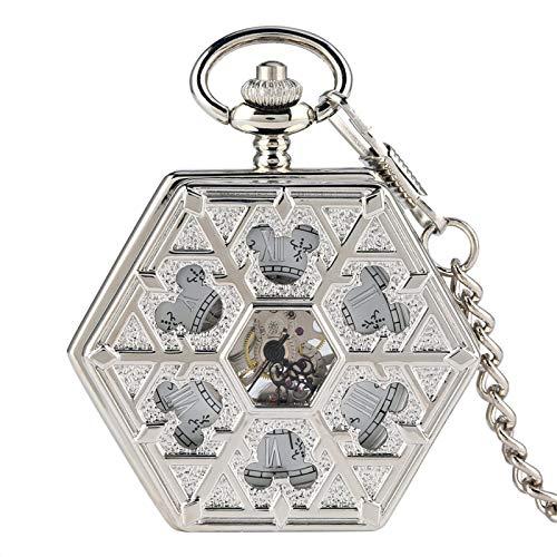 ZHAOXIANGXIANG Reloj De Bolsillo Retro,Único Diseño Hexagonal Mecánico De Oro Rosa Hueco Rama De Árbol Reloj De Bolsillo Reloj De Cuerda Manual Colgante Accesorio Regalos, Plata